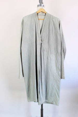 Vintage Long Oriental Shirt Or Jacket In Gary Green Linen