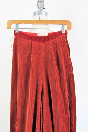 Vintage 1940s Hollywood Costume Pants In Red Corduroy