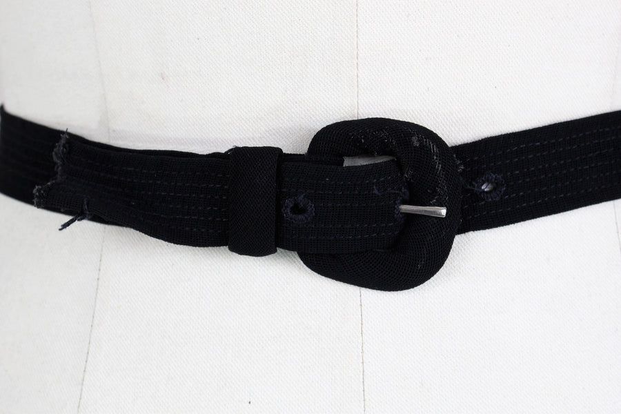 Vintage 1940s Black Rayon Belt With Buckle