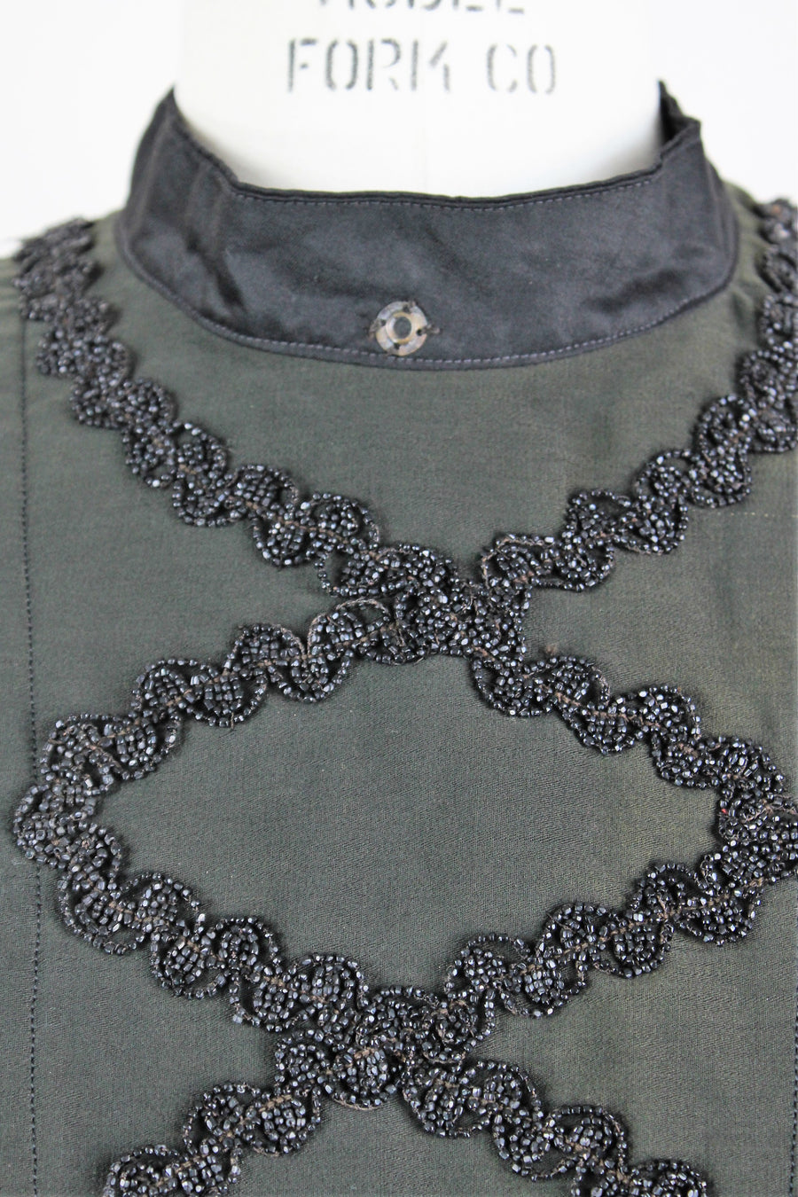 Antique 1890s/1900s Black Mourning Blouse With Jet Beads