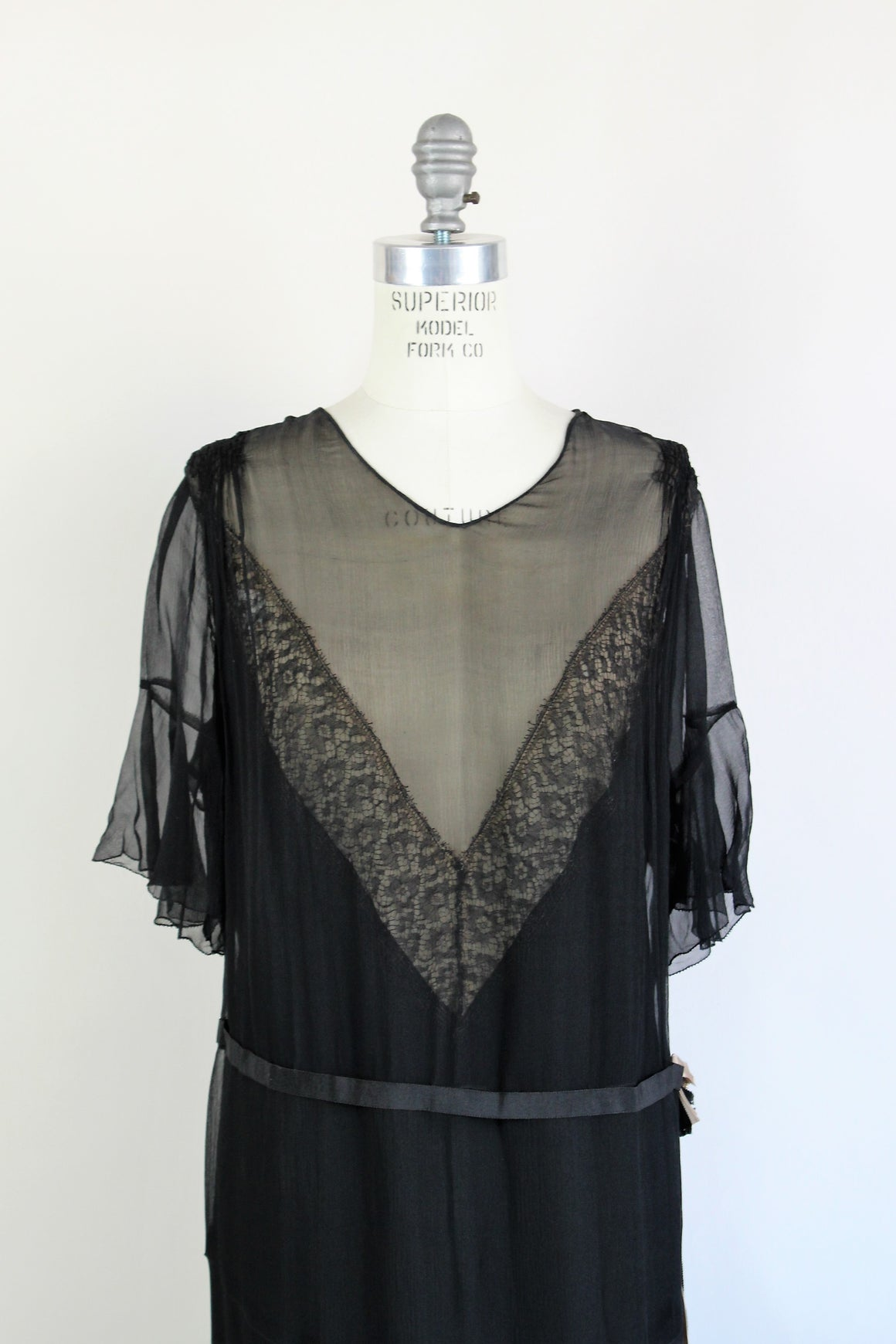 Vintage 1920s Black Silk Chiffon Dress