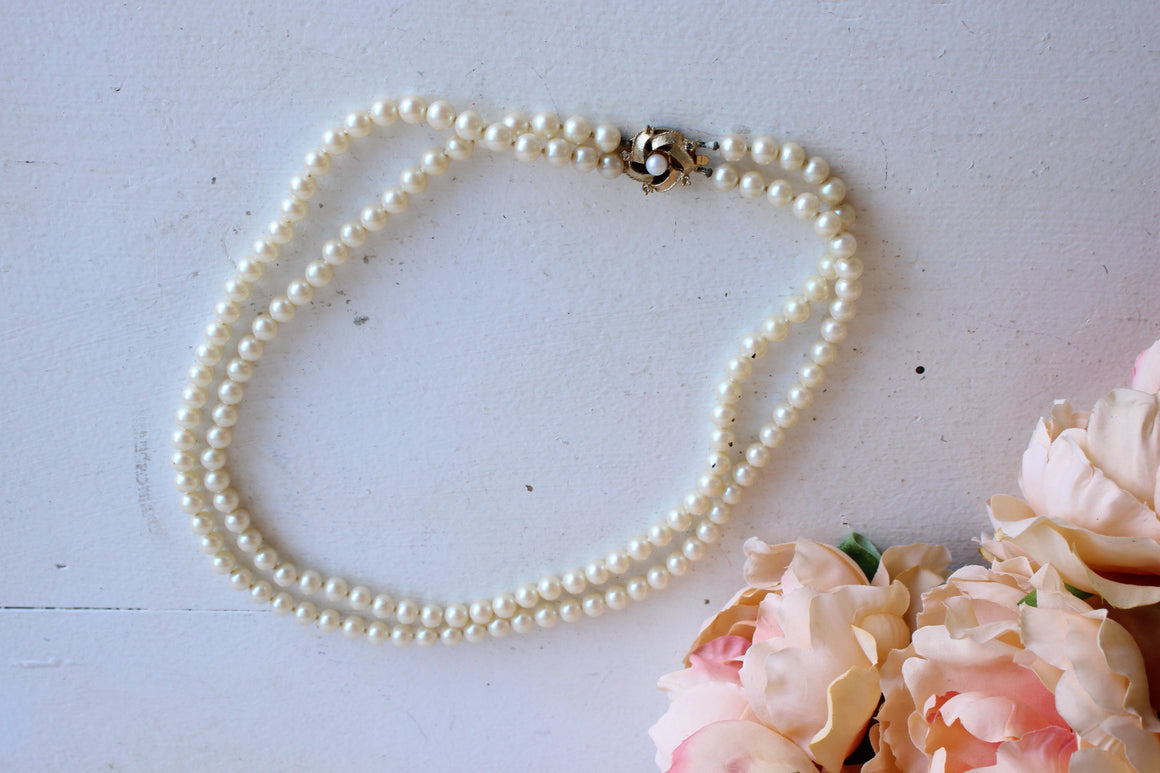 Vintage 1950s Faux Pearl Double Strand Necklace