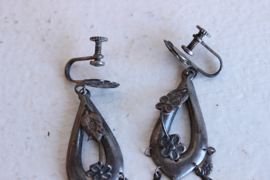 Vintage 1930s Mexico Silver Earrings