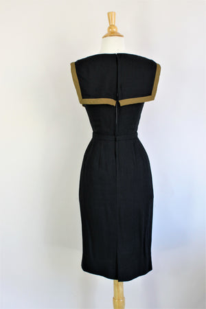 Vintage 1960s Raw Silk Black Sheath Dress
