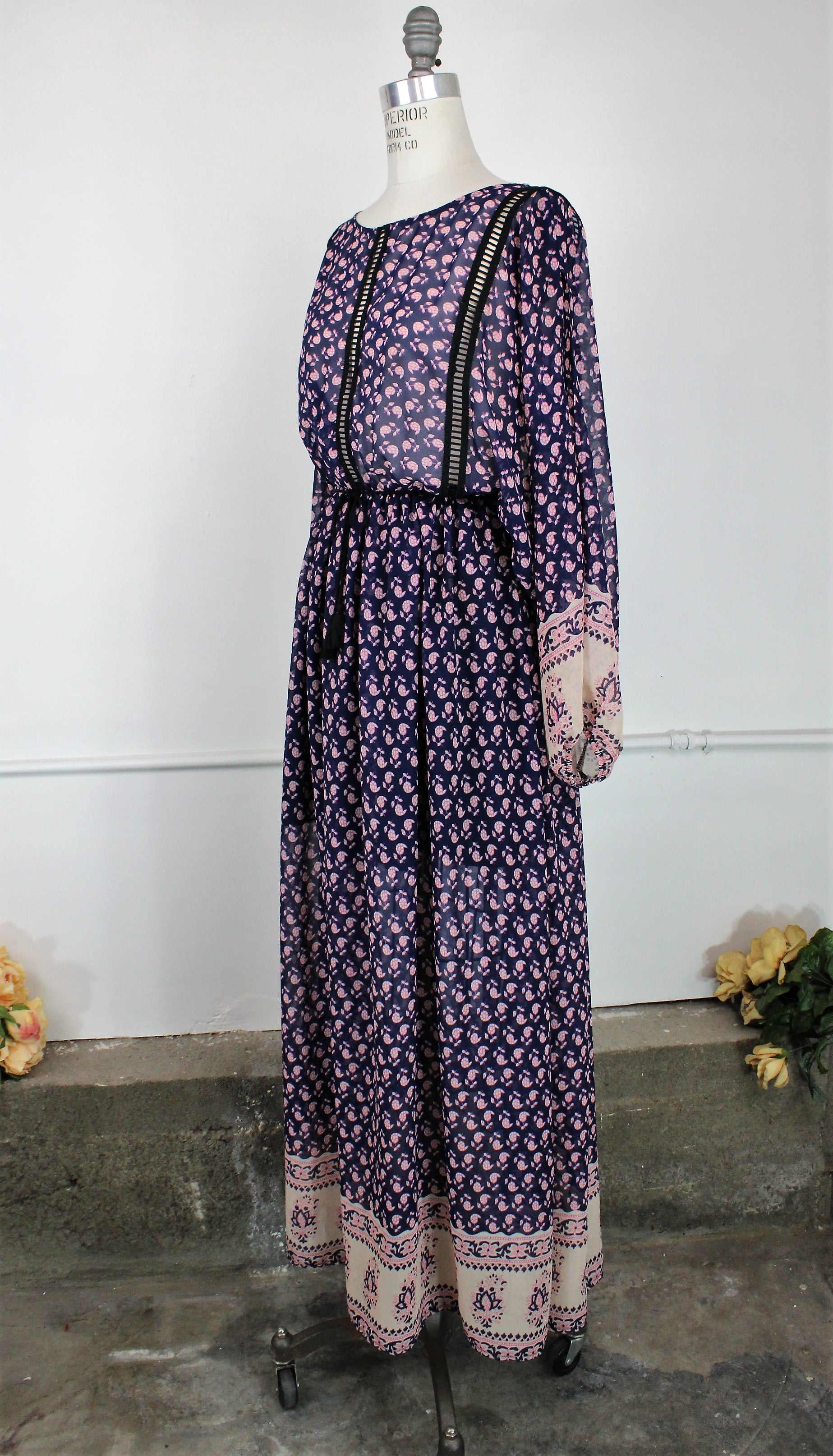 Blue Floral Boho Maxidress