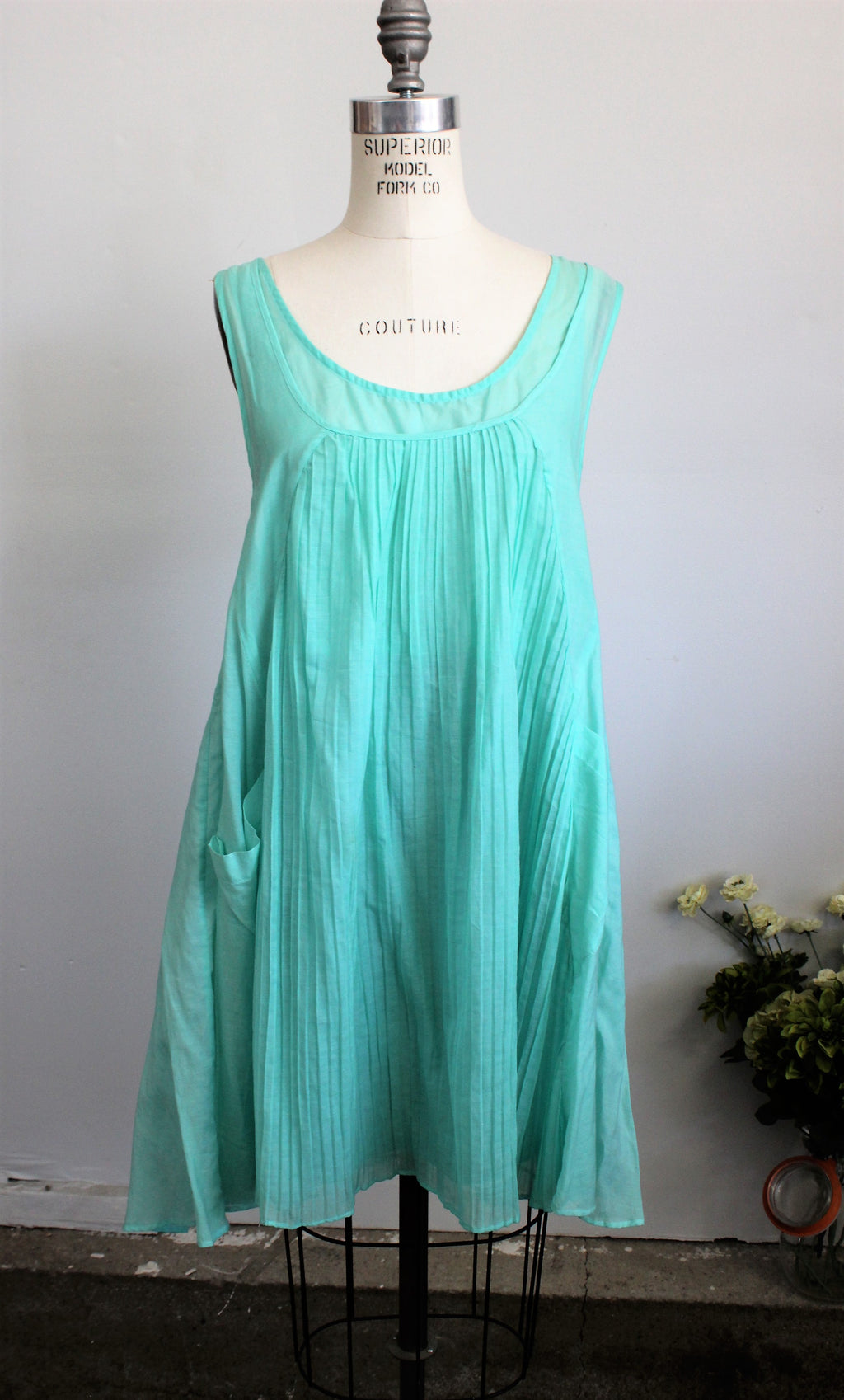 Piko 1988 Anthropologie Seafoam Green Babydoll Dress, Size Medium