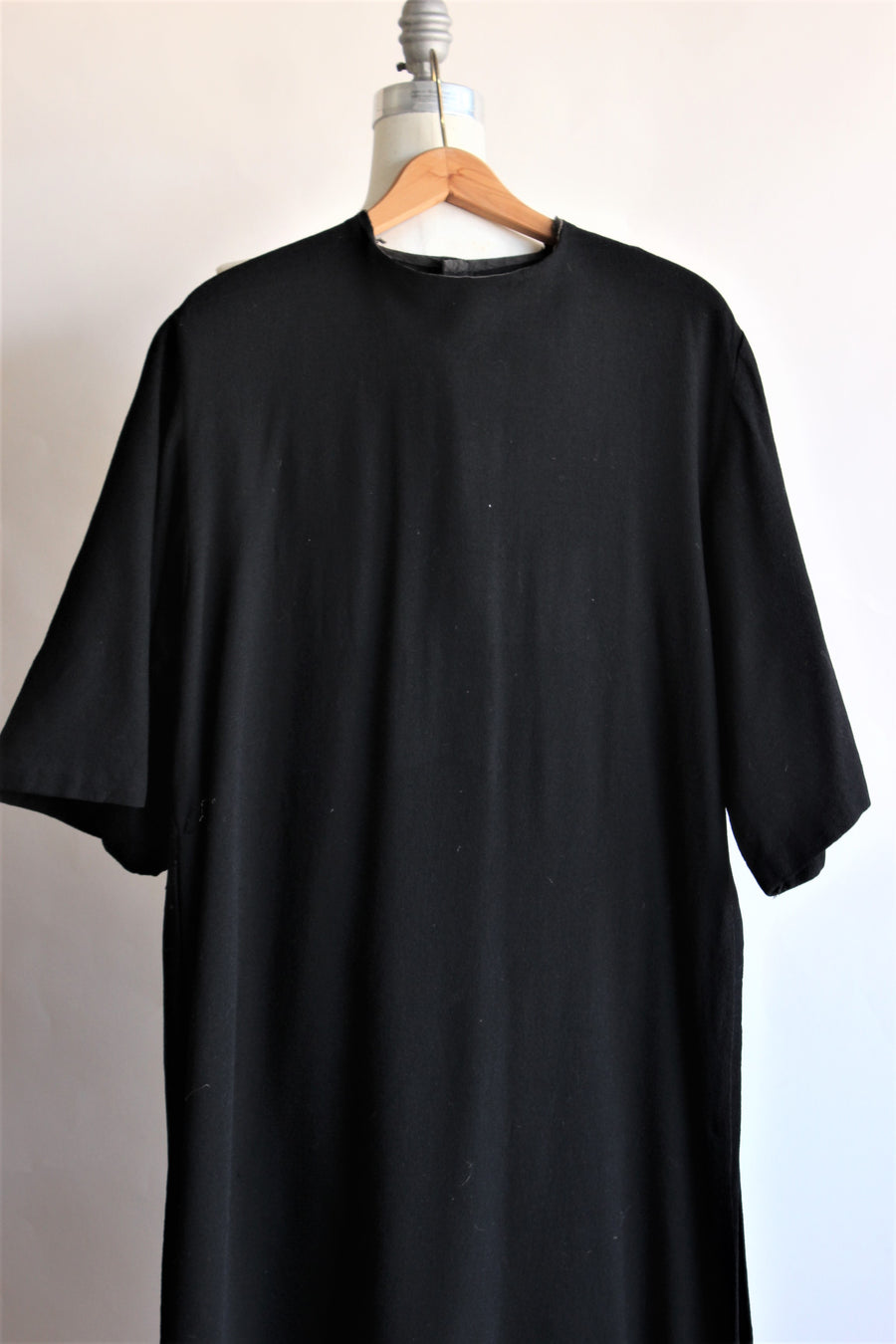 Vintage 1940s Long Black Wool Tunic, Movie Costume