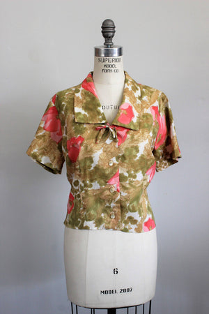 Vintage 1960s Floral Blouse by Teddi of California