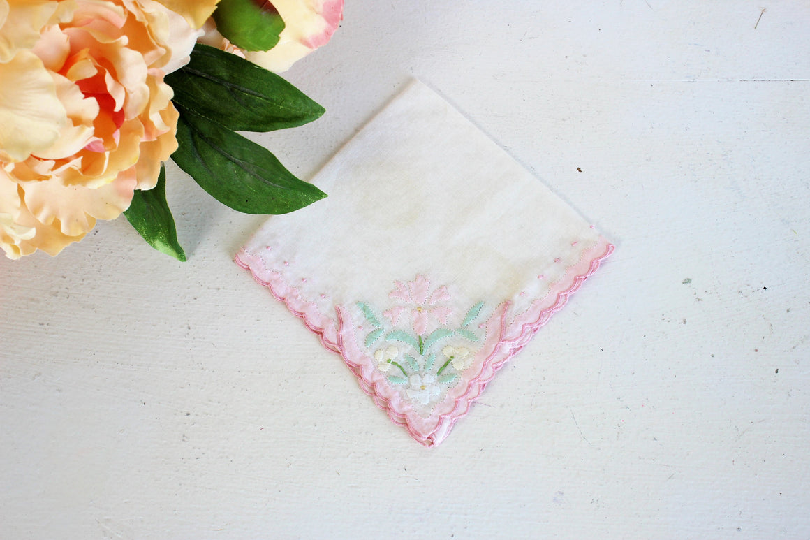 Vintage Handkerchief / White Cotton With Pink and Green Cutwork Flowers