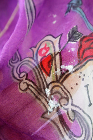 Vintage 1940s Novelty Print Collectible Scarf with Clocks