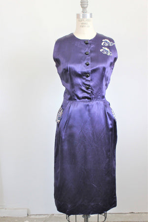 Vintage 1960s Satin Cocktail Dress, with Pockets and Appliques.