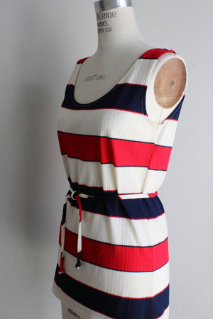 Vintage 1960s 1970s Red White And Blue Top With Belt