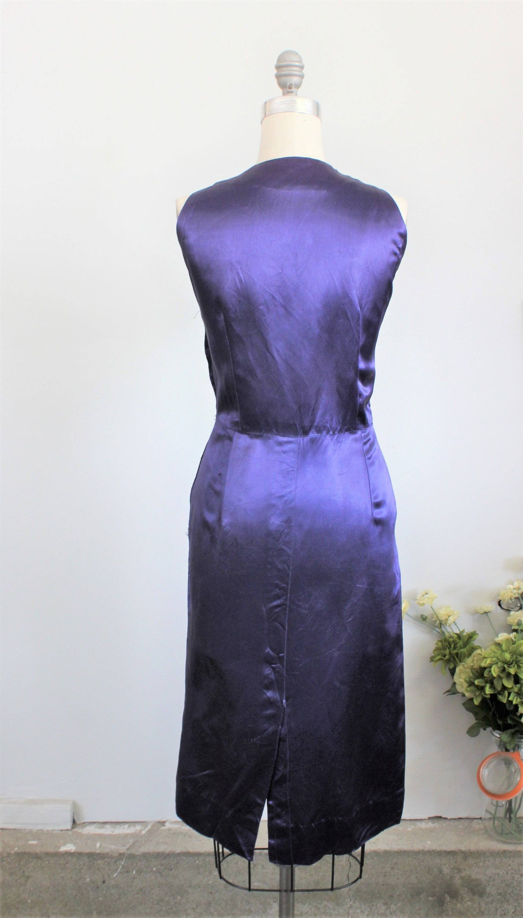 Vintage 1960s Satin Cocktail Dress, with Pockets and Appliques ...