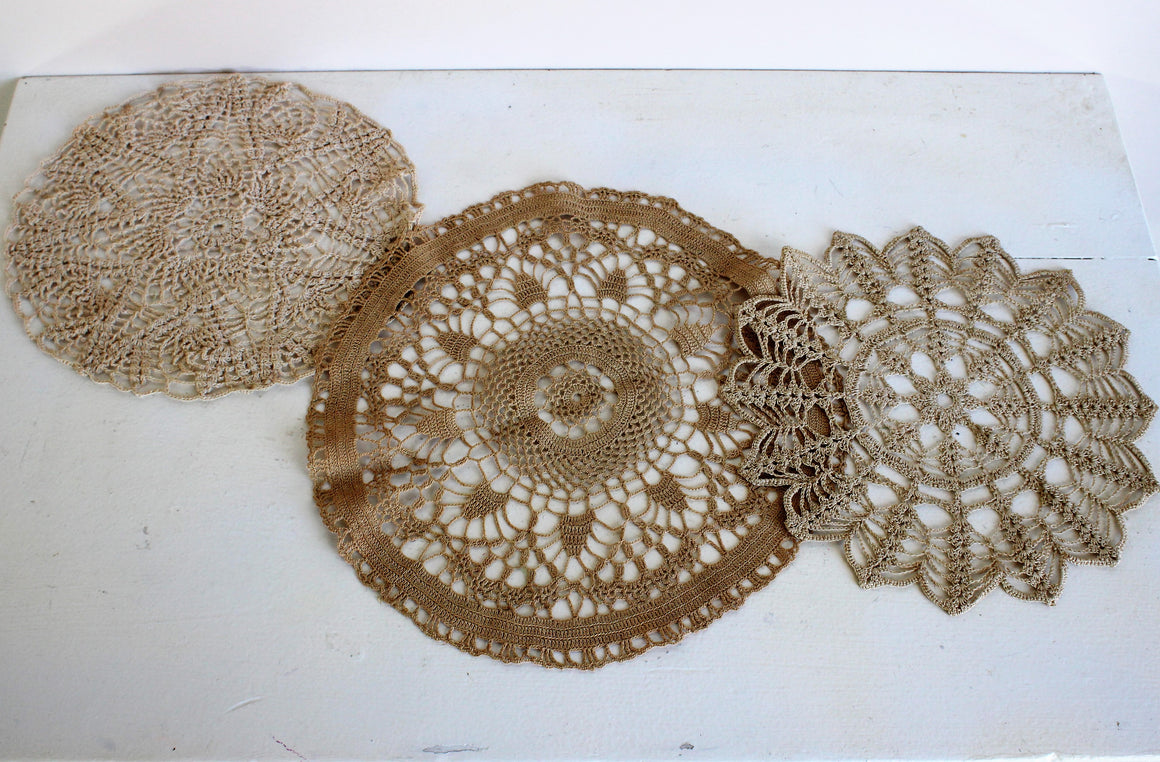 Vintage Beige Crochet Doilies, Set of Three