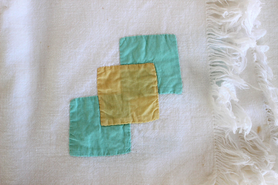 Vintage 1960s Tablecloths Feedsack Cloth With Fringe and Cutwork