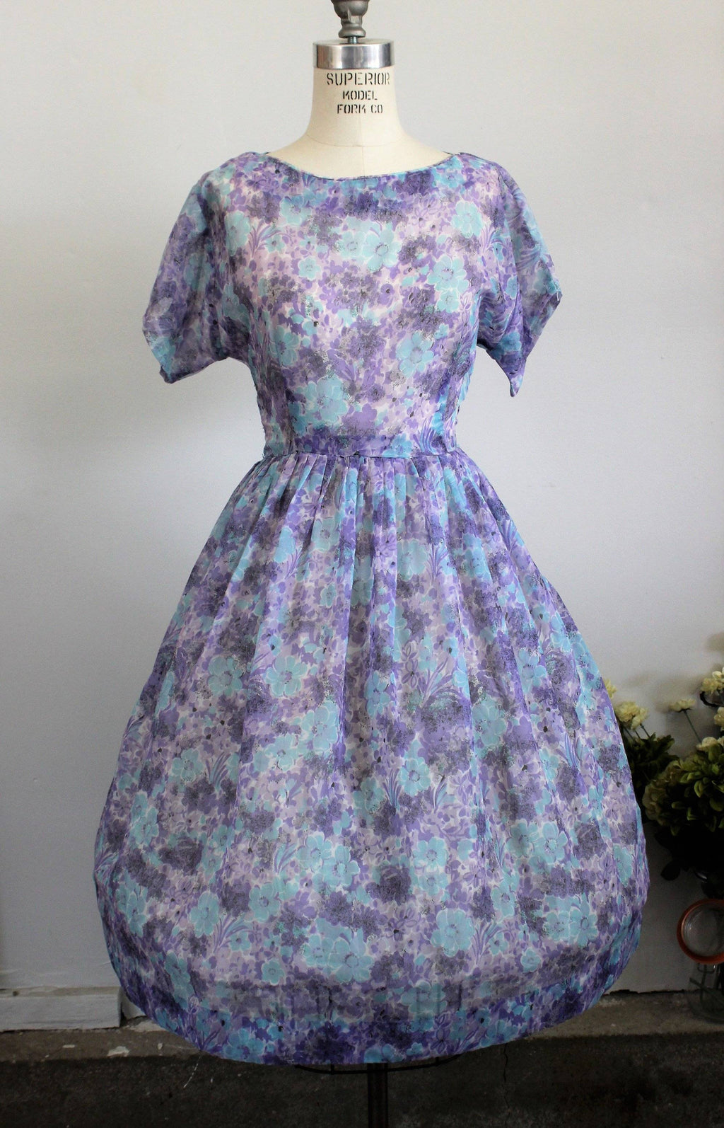 Vintage 1940s Blue and Purple Floral Print New Look Dress, Sheer Nylon