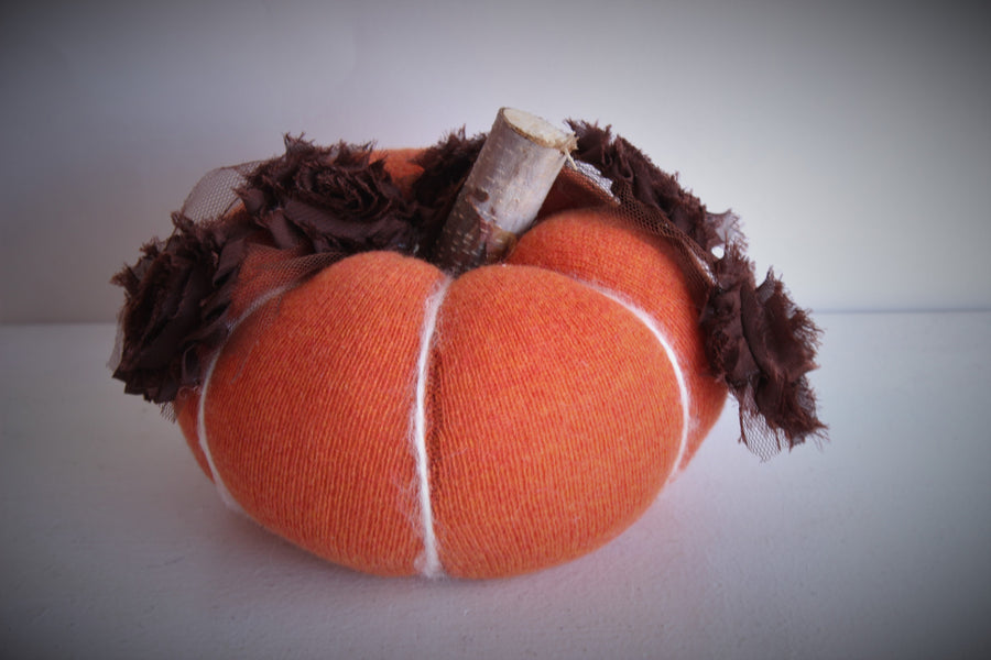 Jack O Lantern Knit Pumpkin Pillow Pouf With Tattered Rose Trim and Wooden Stem