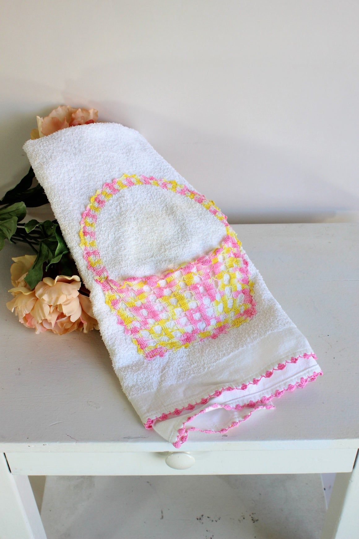 Vintage 1980s Cone Terrycloth Towel With Crochet Flower Basket Pocket