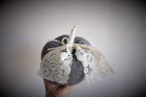 Knit Pumpkin PIllow Pouf in Gray Wool With IVory Lace Leaves and Stem