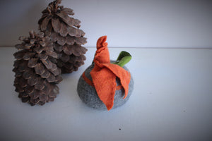 Knit Pumpkin Pillow Pouf in Gray with Orange Leaves and Green Velvet Ribbon