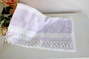 Vintage 1980s Terrycloth Towel With Crochet Lace Trim