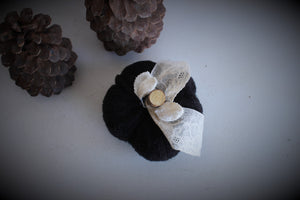 Mini Black Knit Pumpkin Pillow Pouf, With Velvet Leaves, Ivory Lace and Wooden Stem