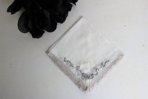Vintage Handkerchief Cotton and Lace and Embroidered Gray And White