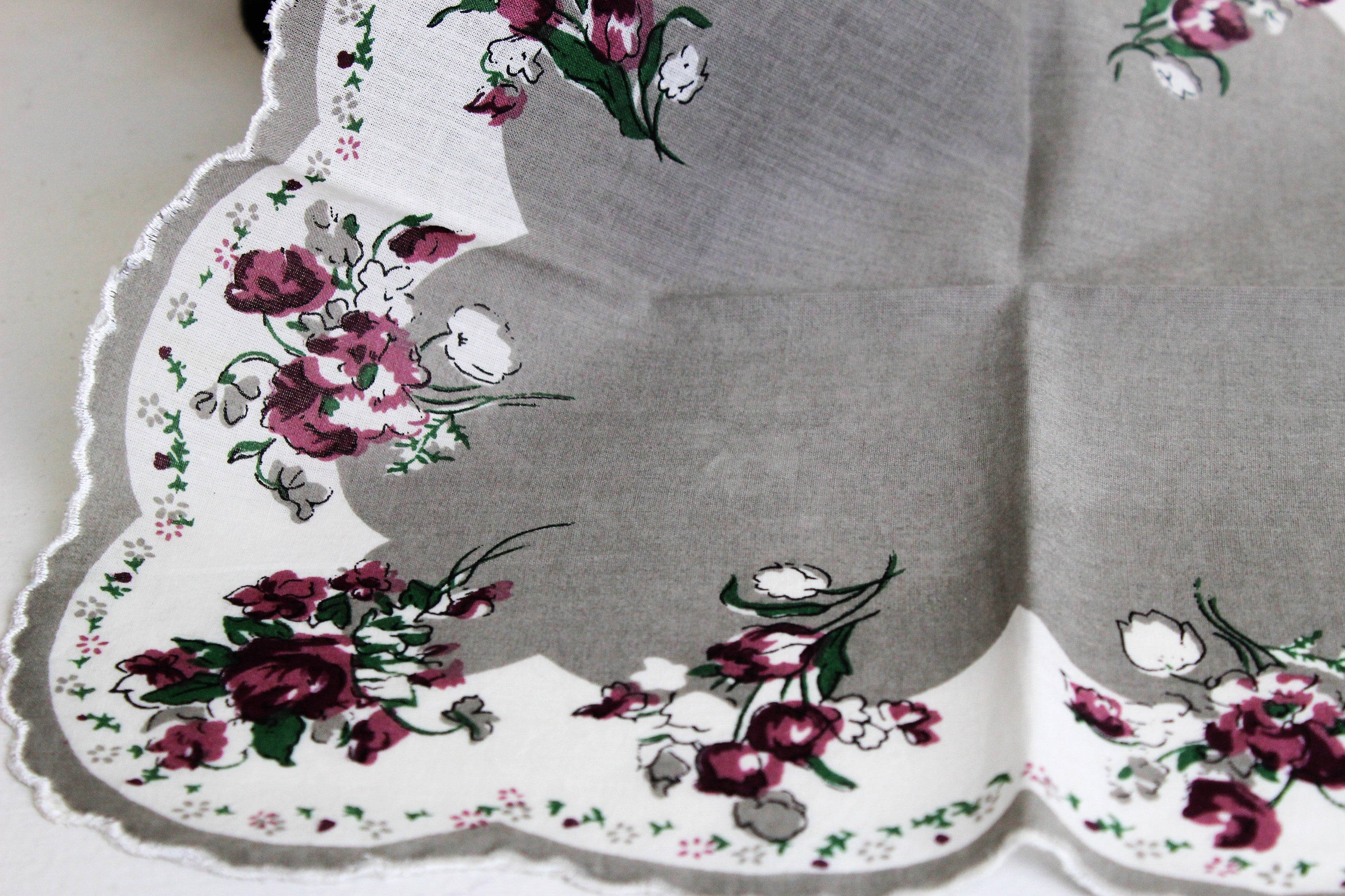 Vintage Handkerchief, Rose Print on Gray,  New Old Stock