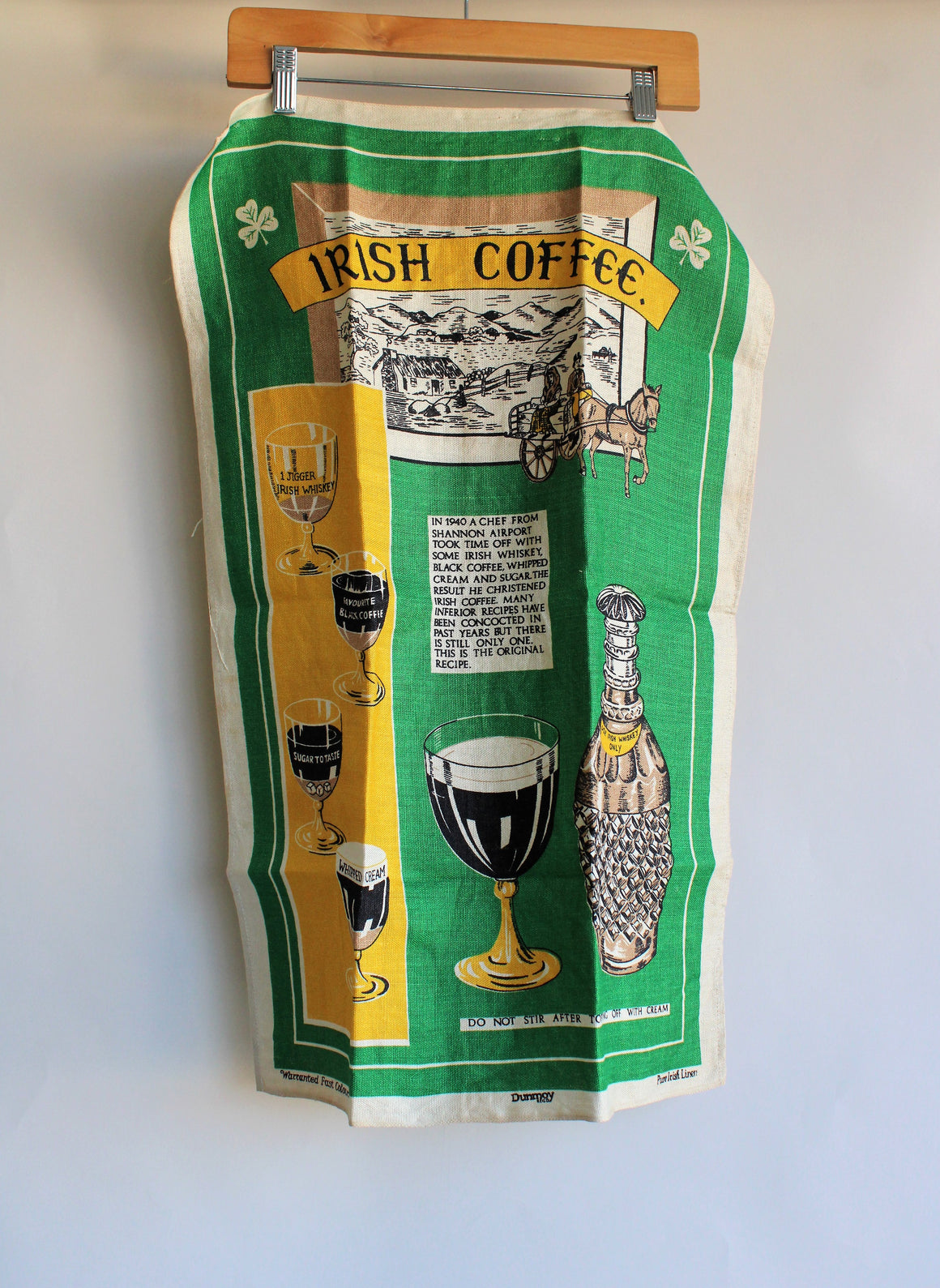 Vintage 1950s 1960s Irish Coffee Linen Tea Towel by Dunmoy