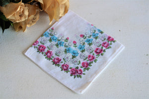 Vintage Hanky with Blue and Pink Roses