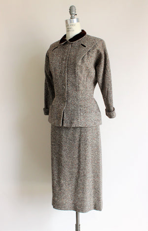 Vintage 1940s R&K Originals Wool Tweed Two Piece Suit