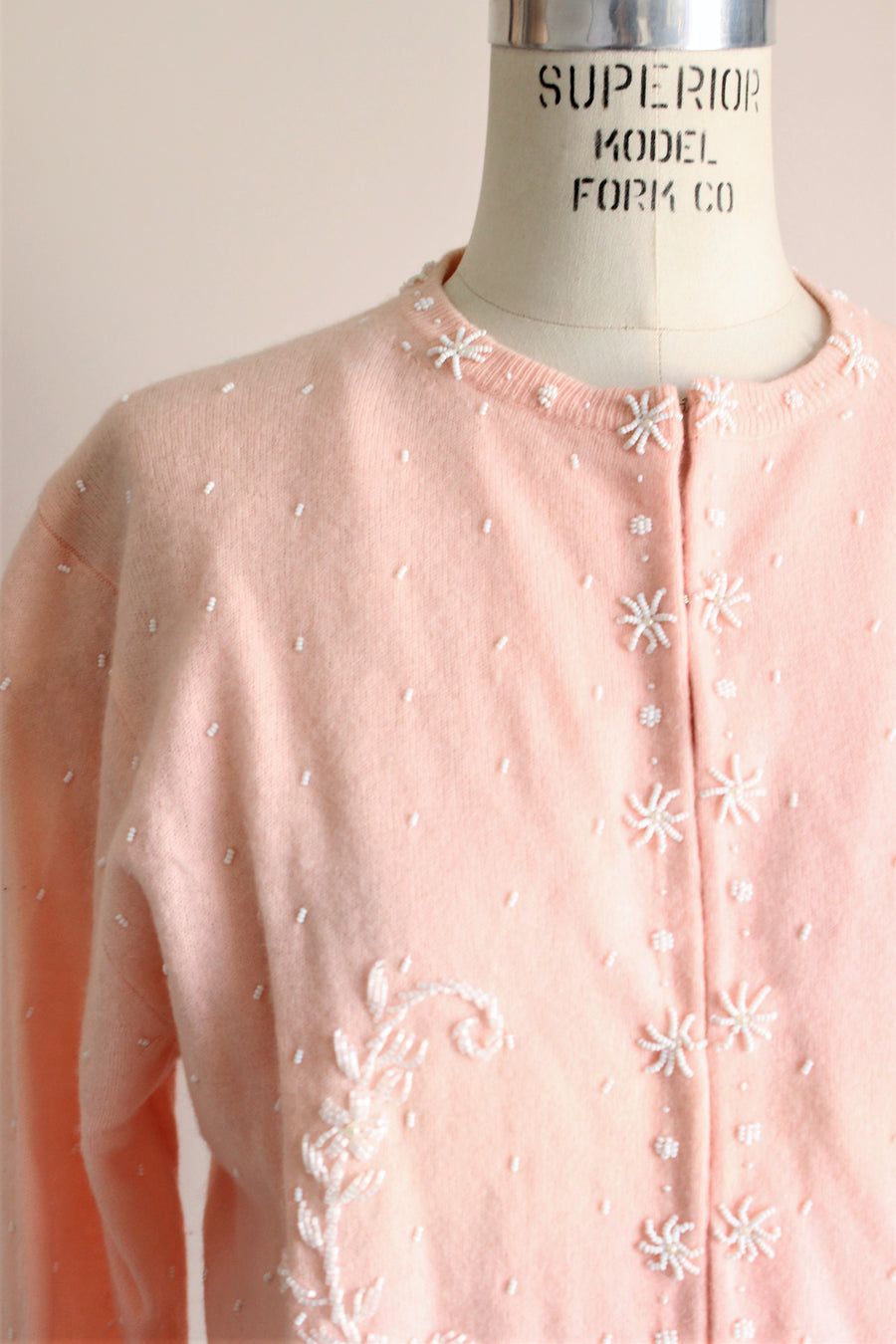 Vintage 1960s Pink Beaded Cardigan Sweater