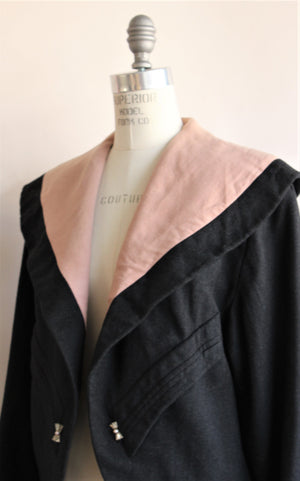 VIntage 1950s Darkest Gray Wool Jacket With Pink Lining By Buddy Bates