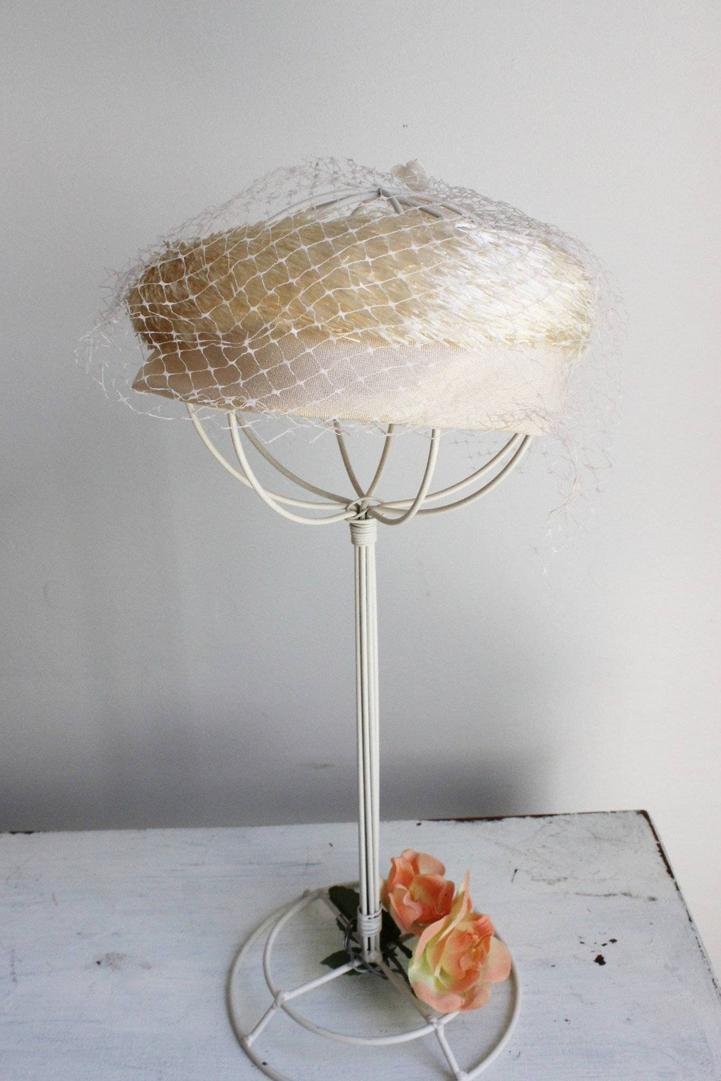 Vintage 1960s Ivory Hat with Birdcage Veil and Ribbon Bow
