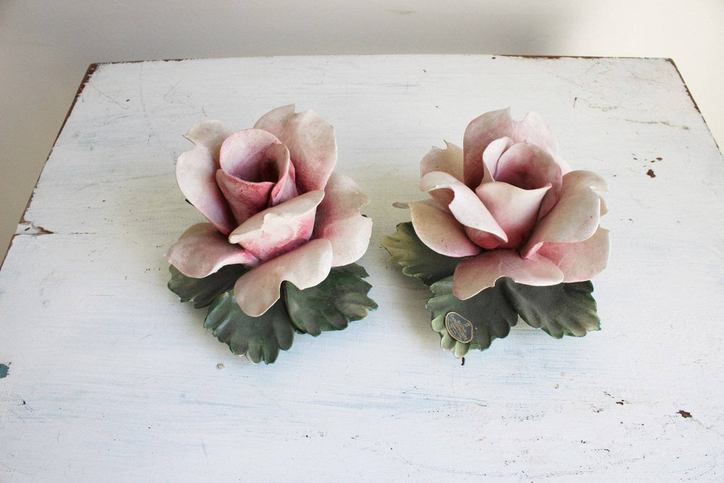 Vintage 1960s Porcelain Rose Candle Holders, Nuova Capodimonte