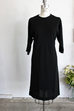 Vintage 1960s Black Sheath Dress by Rondo Fashion Knits