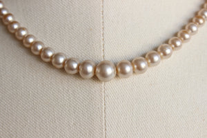 Vintage 1950s 1960s Faux Pearl Choker Necklace 16 Inch From Japan