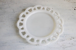 Vintage Mid Century Milk Glass Candy Plate
