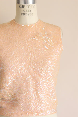 Vintage 1960s Pink Sequined Sweater Top