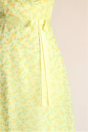 Vintage 1970s Yellow and Green Floral Maxi Dress