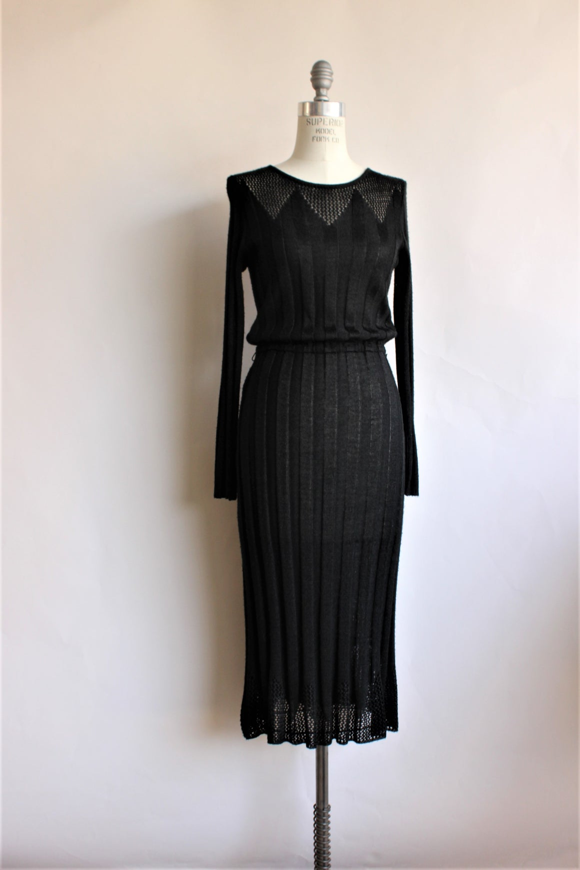 Vintage 1970s Black Knit Dress