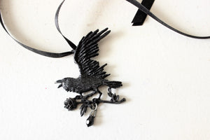 Harbinger Black Raven and Rose Necklace by Alchemy Gothic