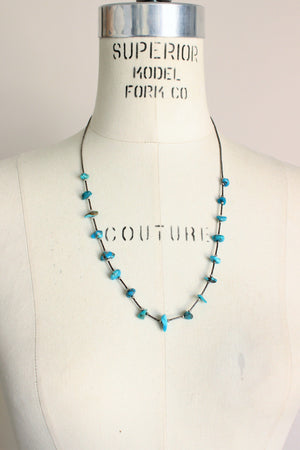 Vintage 1980s 1990s Turquoise Bead Necklace