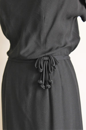 Vintage 1950s Leslie Fay Black Dress With Bows