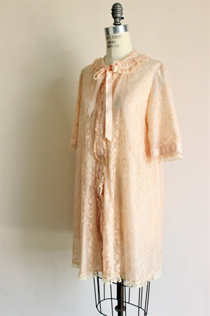 Vintage 1950s Blush Pink Lace Robe by Odette Barsa
