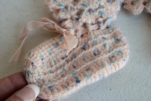 Vintage 1960s Baby Booties in Pink and bits of Blue