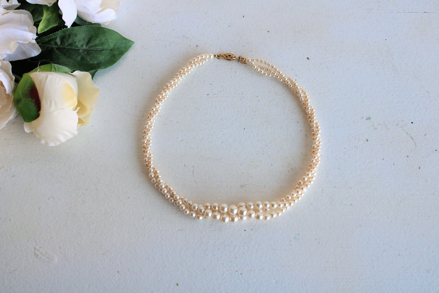 Vintage Napier Three Strand Faux Pearl Necklace