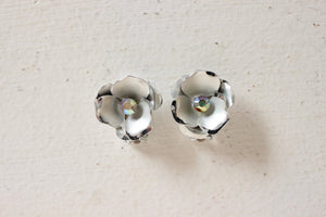 Vintage 1950s Coro Silver Flower Clip On Back Earrings