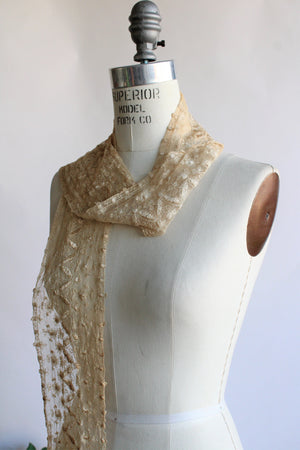 Antique Silk Lace Scarf or Sash or Trim