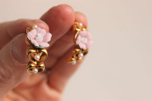 Vintage Earrings, Pink flowers, heart and pearls. By Avon